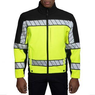 Hi-Vis Yellow Black 4670 Colorblock Softshell Fleece Jacket Blauer - Front